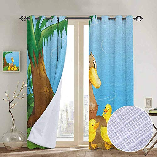 "NUOMANAN Thermal Insulated Blackout Curtain Kids,Illustration of Cute Duck and Her Ducklings at Riverbank Tree and Grass Cartoon Style, Multicolor,Blackout Draperies for Bedroom Living Room 84""x100"""