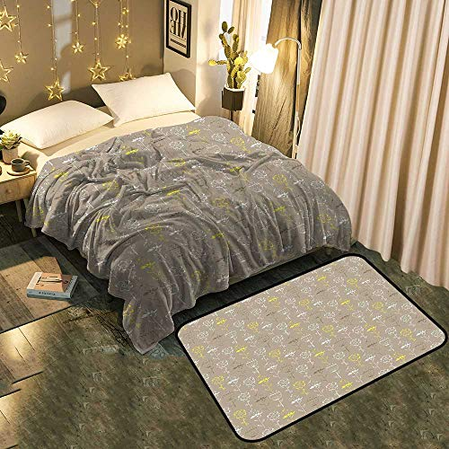 (Bedside Blanket Doormat suitYellow Hand Drawn Sketchy Tulips Flowers Leaves Butterflies Art Image Cocoa Black and Cozy and Durable Blanket 50