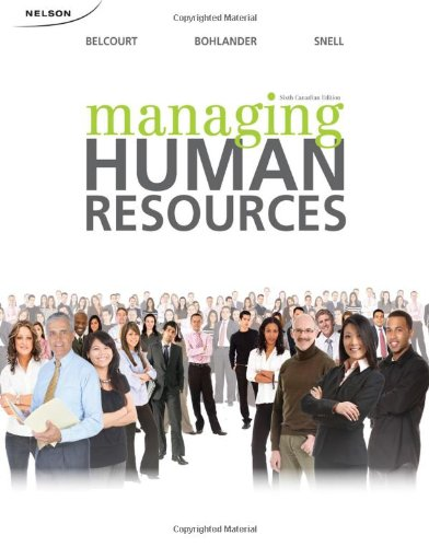 Managing human resources canadian 8th edition by belcourt snell.