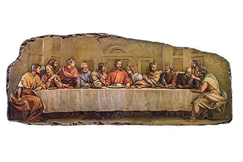 (The Last Supper Exposed Edged 18.5 Inch Resin Stone Wall)