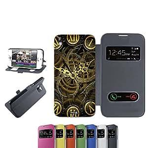 CASELABDESIGNS FLIP LIBRO CARCASA FUNDA MECCANICA CLOCK PARA HTC DESIRE 816 NERO - FUNDA DE PROTECCIÓN PLEGABLE NEGRO