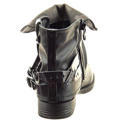 Sopily - Zapatillas de Moda Botines biker - motociclistas Caña baja mujer brillantes Hebilla tachonado Talón Tacón ancho 2.5 CM - Negro