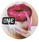 ONE Bubblegum Flavored Lubricated Latex Condoms with Silver Pocket/Travel Case-12 Count