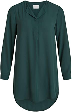 Vila Clothes Vilucy L/s Tunic Noos Blusa, Verde (Pine Grove Pine Grove), 36 (Talla del Fabricante: 34) para Mujer