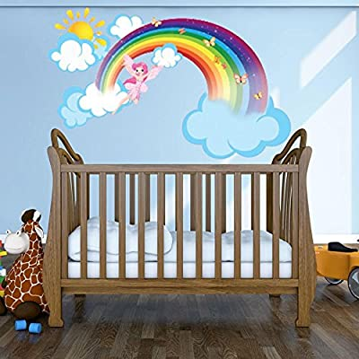 Style & Apply Rainbow Fairy with Clouds and Sun Wall Decal Girls Room Wall Decal, Sticker for Girls, Nursery Vinyl Wall Art, Kids Room Decor - DS 875-26in x 16in: Home & Kitchen