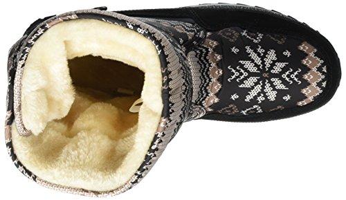 Sibba Schneestiefel Thermostiefel wasserdichte Stiefel mit Nylongewebe gefüttert für Damen und Mädchen Grau