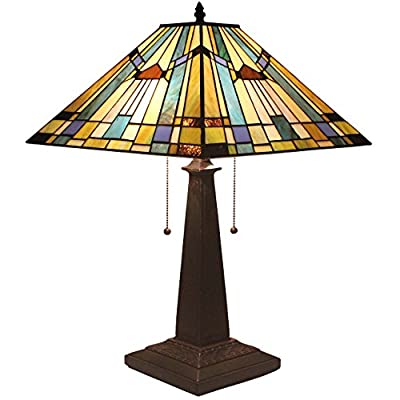 Bieye L11412 16-inches Mission Tiffany Style Table Lamp with Zinc Base, 23-inch Tall