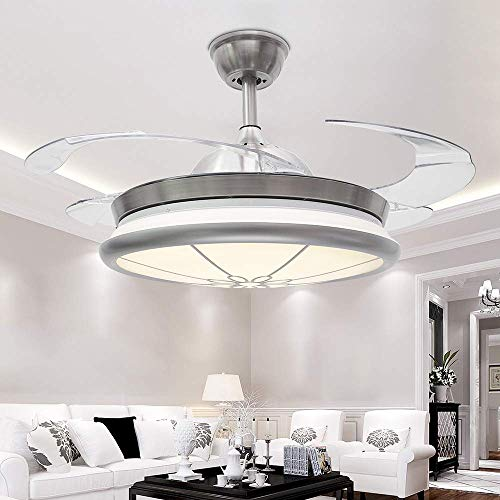 Metal Gear Fan - RS Lighting Ceiling Fan and Light Combination with Remote Control High Mid Low Third Gear Speed Metal+Acrylic Material Downrof Ceiling Fan with Chandelier for Hotel Bed Living Room (Chrome-05)