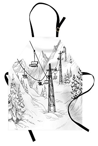 Lunarable Winter Apron, Ski Lift with Fir Trees Monochrome Seasonal Holiday Destination Themed Sketch, Unisex Kitchen Bib Apron with Adjustable Neck for Cooking Baking Gardening, Black and White -