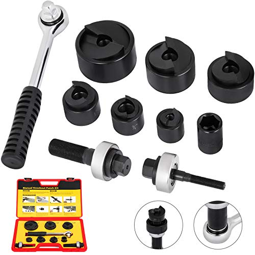 Happybuy 6T 22.5-61.5mm Electrical Metal Stud Knockout Punch Kit CC-60 Steel Stud Hydraulic Knockout Puncher Set Dies From 0.9 inch to 2.4 inch Conduit Punch Hole Punch 20GA Sheet Stud Knockout Punch