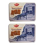Hellema - Speculaas Spiced Gourmet Cookies in Delft Tin (Dutch) (4.7 Oz) (Pack of 2)