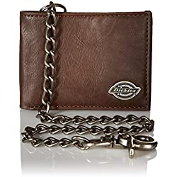 Dickies Mens Wallet with Chain - Security Bifold Truckers Classic Sim Thin Single Fold with ID Window