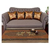 Sofa Set 1 Table runner + 4 Cushion Shiny Gold Brown King Elephants Beautiful Thai Silk Blend Table/bed Runner Size : 20 Inches X 2 M.
