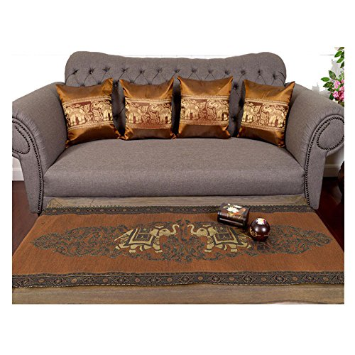 Sofa Set 1 Table runner + 4 Cushion Shiny Gold Brown King Elephants Beautiful Thai Silk Blend Table/bed Runner Size : 20 Inches X 2 M. by J.J.