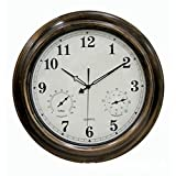 Home Hanging Waterproof Wall Clock,Includes a Thermometer and Hygrometer 23.6 Inch Clock Large Display Silent Clock Wonderful Housewarming Gift for Friends