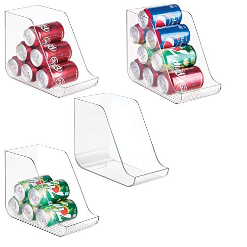 (mDesign Large Standing Kitchen Can Dispenser Storage Organizer Bin for Canned Food, Soup, Dog Food, Pop/Soda - Compact Vertical Holder - 4 Pack - Clear)