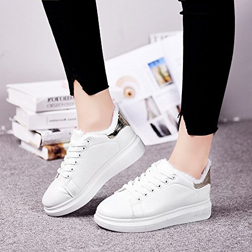 DXD Agregue Zapatos Blancos Cálidos de Invierno Además de Zapatos de Mujer con Zapatos Gruesos de Algodón para Aumentar Los Zapatos de Los Estudiantes Oro