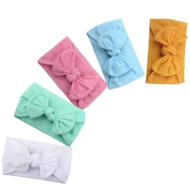 5Pieces Baby Girl Diademas Suave Bowknot de Nylon Hairbands el/ástico Reci/én nacido Infant Toddler Hair Accessories