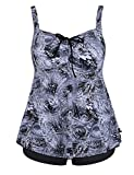 Hilor Women's Retro Drawstring Ruched Halter Floral Tankini Set Two Piece Swimsuit Swirl Grey 26