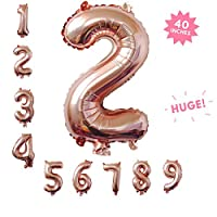 Rose&Wood 40 Inch Jumbo Digital Number Balloons Huge Giant Balloons for Birthday Party,Wedding, Bridal Shower Engagement Photo Shoot, Anniversary,Rose Gold