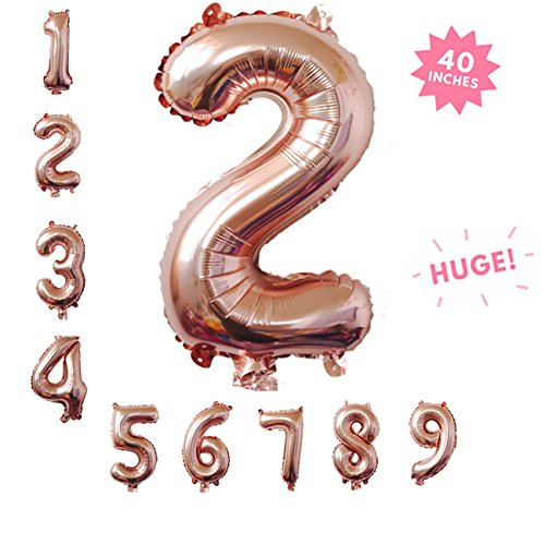 40 Inch Rose Gold Jumbo Digital 2 Number Balloons Huge Giant Balloons Foil Mylar Number Balloons For Birthday Party,Wedding, Bridal Shower Engagement Photo Shoot, Anniversary (Rose Gold,Number 2) ()