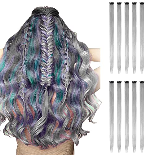 HXS 10pcs Colored Hair Extensions, Multi-colors Party Highlights Clip in Synthetic Hair Extensions for Women 20 inch
