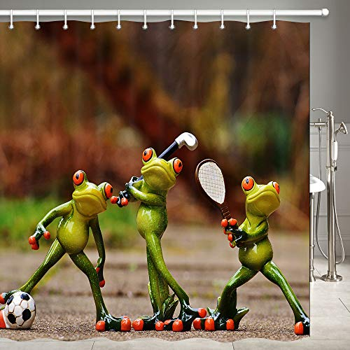 Aniaml Decor Shower Curtain Set, Interesting Porcelain Frogs are Playing Soccer Golf Tennis Sports game Kids Theme Bathroom Accessories, Polyester Fabric Bathroom Decor Set with Hooks, 69 X 70 Inches