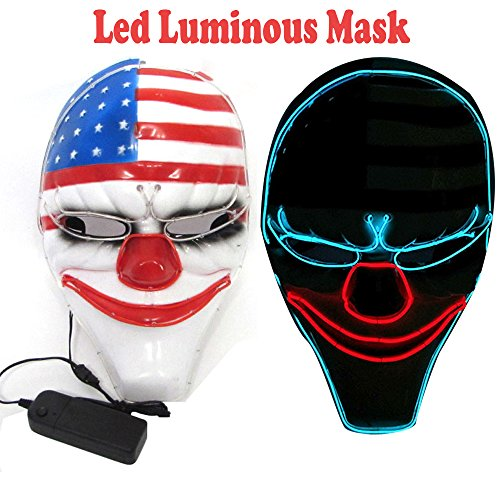 Cool Led Luminous Payday2 Dallas Mask Heist Clown Mask for Costume Party Halloween
