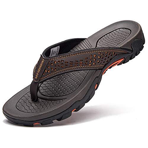 Mens Thong Sandals - GUBARUN Mens Sport Flip Flops Comfort Casual Thong Sandals Outdoor(Brown 1, 11)
