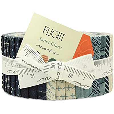 Flight Moda Jelly Roll 40 2.5x44-inch (6.4x112cm) Cotton Fabric Strips from Moda Fabrics