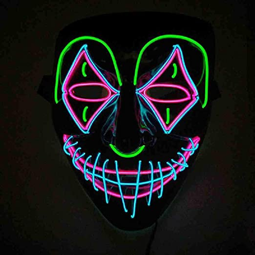 KLJAI El Wire Light Up Halloween Brillante máscara de Miedo Led ...