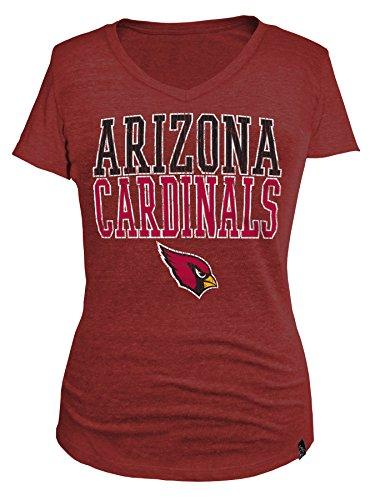 NFL Arizona Cardinals Women's Tri Blend Short Sleeve V-Neck Shirt, Small, Red