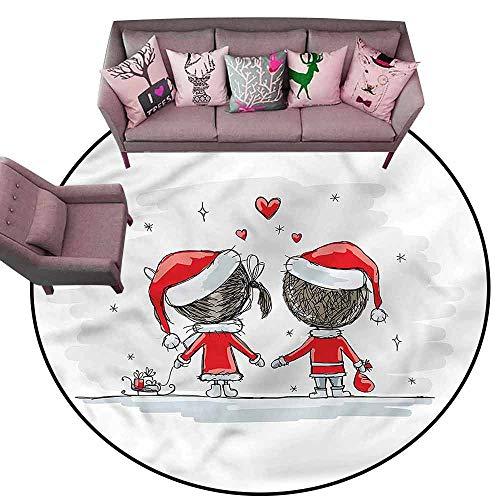 (Large Floor Mats for Living Room Christmas,Kids Santa Costumes Diameter 48