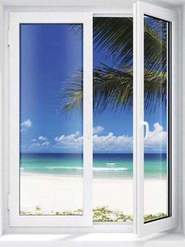 JP London UMB91127 Prepasted Island Getaway Beach Paradise Window Wall Mural, 3-Feet Wide by 4-Feet (4' Mural)