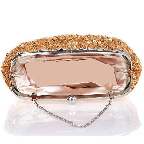 KAXIDY Abendtasche Unterarmtasche Pailletten Weich Clutch Handtasche Tasche Schultertasche Gold 7mO80K