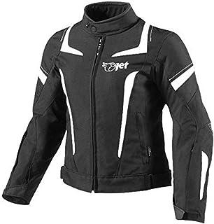 JET Womens Ladies Textile Motorcycle Motorbike Jacket Waterproof (XS (6/8), Black/Sky Blue)