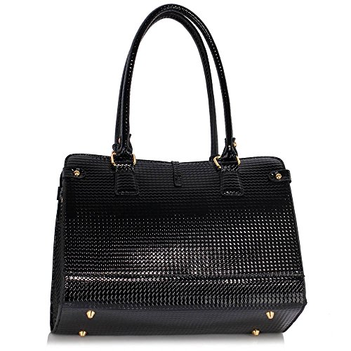 ANNA GRACE - Bolso de asas de Charol para mujer Design 1 - Black