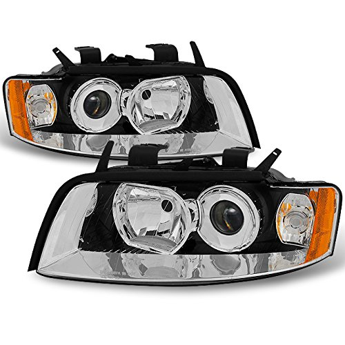 For 2002 2003 2004 2005 Audi A4 S4 Left + Right Side Halogen Type Projector Headlights Assembly Pair Set