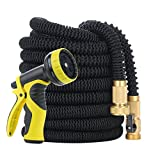Expanding Garden Hose, YIHONG 100 Feet Expandable Water Hose with Strongest Triple Latex Core, 5000D Fabric Casing and All Solid Brass Connector, Flexible Water Hose and 9 Settings Nozzle Sprayer Set