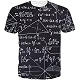 Belovecol Teens Boy Girls Math T-Shirts 3D Print Graphic Short Sleeve Cool Tee Shirts Top Black S