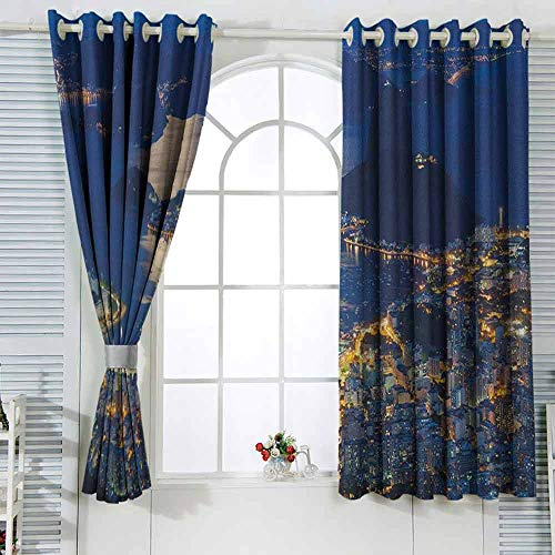 Blackout Curtains for Bedroom Night,Aerial View of Mountain Sugar Loaf and Botafogo Rio de Janeiro Violet Blue Marigold Pale Grey Blackout Curtain Bedroom W63 x L45 (Best Month To Visit Rio De Janeiro)
