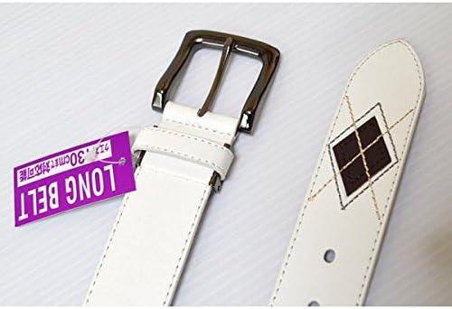 ●大寸、サイズ調整可能● 大きいサイズ 帯幅3.8cm ウエスト125cmまで対応 アーガイルベルト ロングサイズ KT-22LL ホワイト