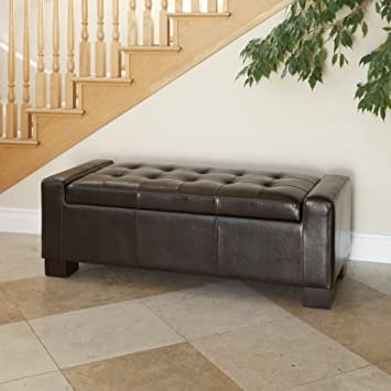 Rothwell Brown Leather Storage Ottoman Bench