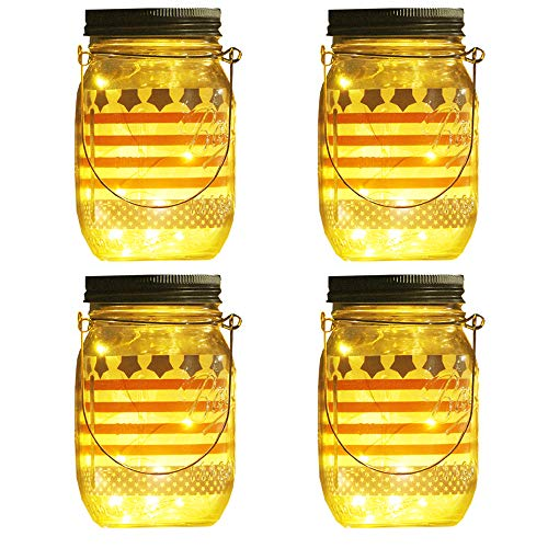(UPSTONE Solar Mason Jar Lid Light,4 Pack 30Led String Fairy Lights, Decor Idea for Mason Jar、4th of July (Jars/Handle)