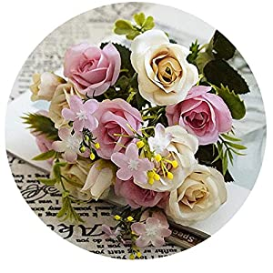 Artificial Small Roses Flower Bouquet Decorative Silk Flowers Table Arrange for Wedding Home Party Decoration Accessory F 16