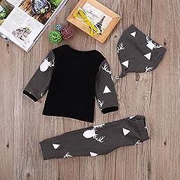Newborn Toddler Baby Boy Girl Deer Tops T-shirt+Pants Leggings 3pcs Outfits Set (12 Months, Black)