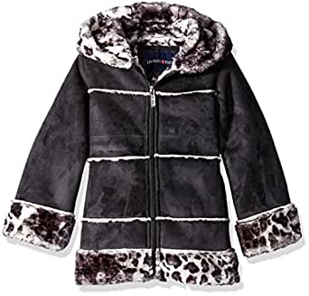 Limited Too Little Girls' Faux Shearling Coat, Black, 4