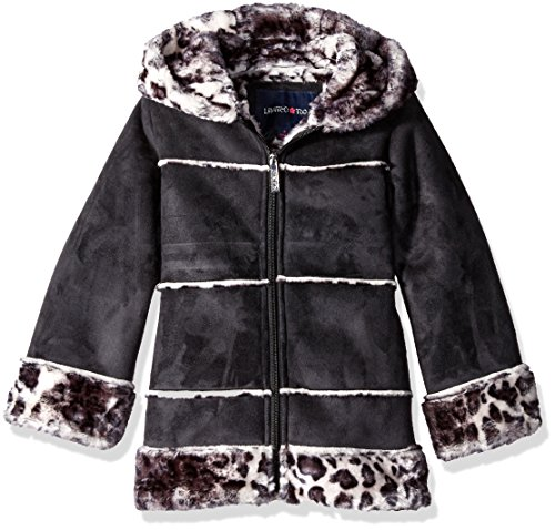 Limited Too Little Girls' Faux Shearling Coat, Black, 6X