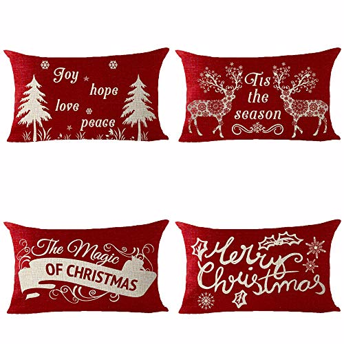 Set of 4 Merry Christmas Joy Hope Love Peace Tis The Season The Magic Of Christmas Tree Elk Pattern Pillows Cotton Linen Decorative Home Office Throw Pillow Case Couch Cushion Cover 12X20 inches (Peace Pillows Love)