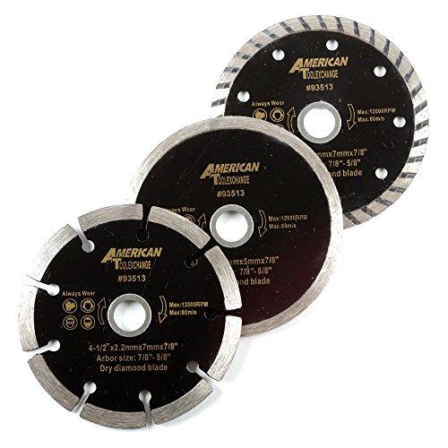 American Diamond Blades - ATE Pro. USA 93513 Wet Dry Turbo Diamond Blade (3 Piece), 4-1/2
